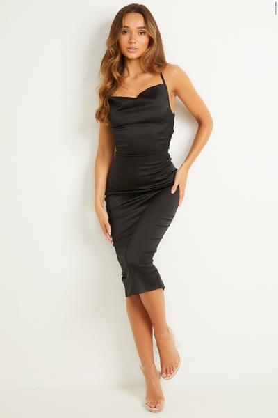 Black Satin Cowl Neck Midi Dress
